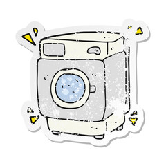 retro distressed sticker of a cartoon rumbling washing machine