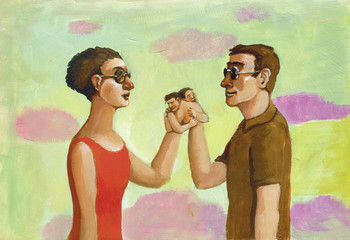 love is blind romantic surreal illustration of a couple