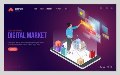 Design website or landing page template. Minimal modern concept for online shopping, e-commerce market. Isometric vector illustration.