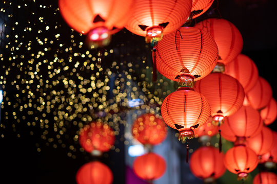Chinese red lantern in the night of Chinese New Year of happiness