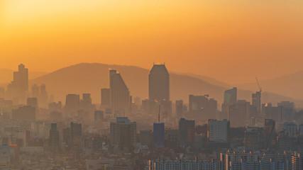 Sunrise of Seoul City,South Korea.dust Pm