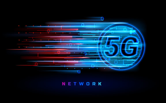 Binary data flowing through 5g wireless connection for technology banner. Global speed internet network connection. New IOT concept. Digital signal transmission of fifth generation. Wifi communication