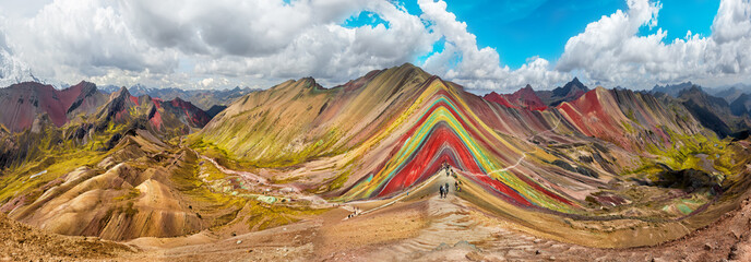 Poster Hiking scene in Vinicunca, Cusco Region, Peru. Rainbow Mountain