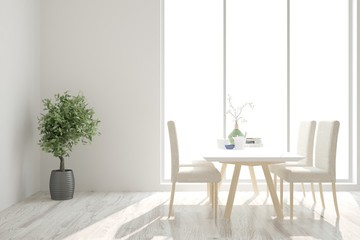 White stylish minimalist kitchen. Scandinavian interior design. 3D illustration