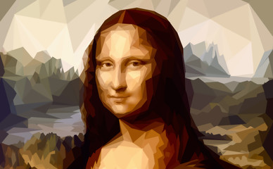 My painting reproduction of Mona Lisa by Leonardo da Vinci and poligon effect.