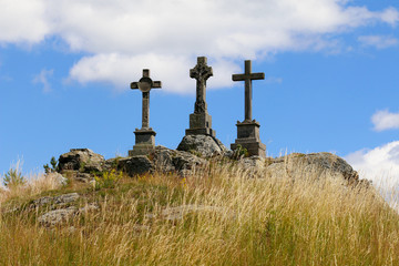 Trinity crosses on the hill