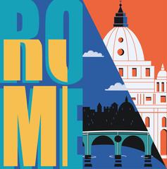 Rome, Italy vector banner, illustration. City skyline, St Pete in modern flat design style