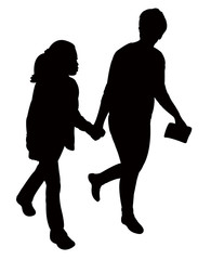 mother and children walking, silhouette vector