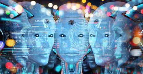 Group of female robots heads using digital hologram screens 3d rendering