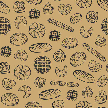 Bakery vector seamless pattern with engraved elements. Background design with bread, pastry, pie, buns, sweets, cupcake. Collection of modern linear graphic, food hand drawn sketches for bakery shop.
