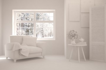 White stylish minimalist room with armchair and winter landscape in window. Scandinavian interior design. 3D illustration
