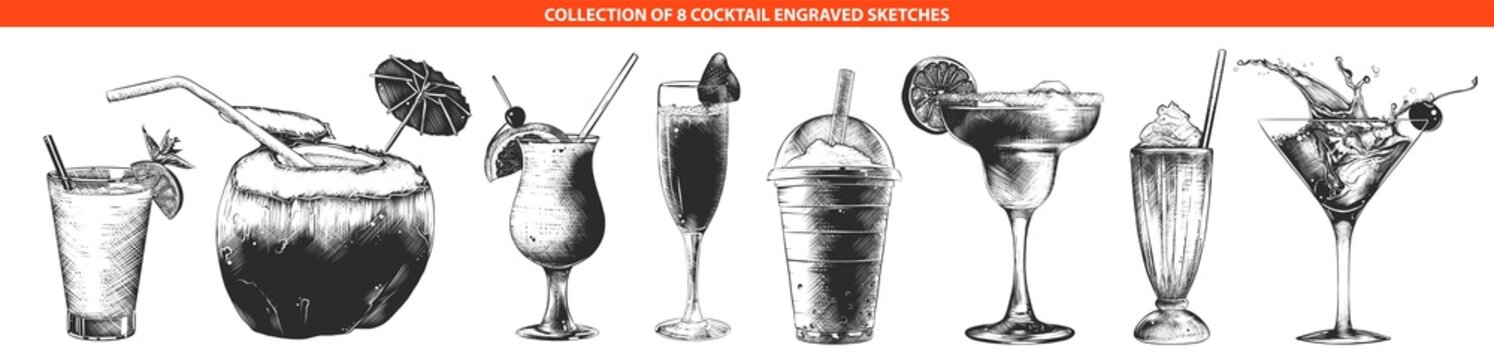 Vector engraved style cocktail collection for posters, decoration and print, logo. Hand drawn sketches of monochrome isolated on white background. Detailed vintage woodcut style drawing.