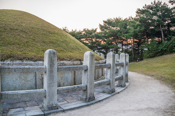Mausoleum of General Kim Yusin in Gyeongju, South Korea. Known as the Hero of the Silla Kingdom