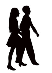 a teenager couple walking, silhouette vector