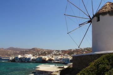 View of Mykonos and  famous windmill, Mykonos island,  Greece