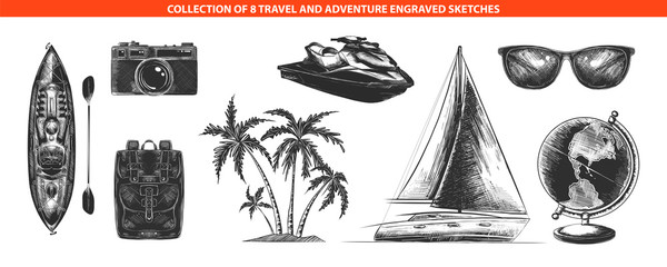 Vector engraved style adventure and travel collection for posters, decoration and print, logo. Hand drawn sketches of monochrome isolated on white background. Detailed vintage woodcut style drawing.