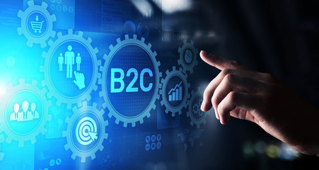 armes en ecommerce B2C Business to customer concept on virtual screen.