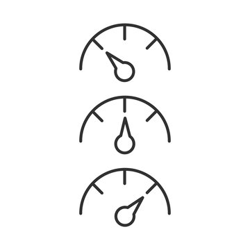Gauge or Speedometer line icon set shows different values, data and analytics, velocity sign, Vector illustration isolated on white background.