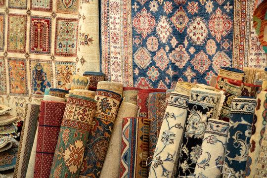 persian carpet old antique vintage in bazar shop market
