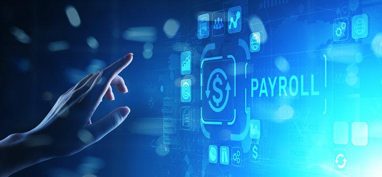 Payroll Business finance concept on virtual screen.