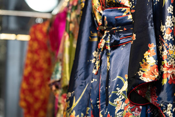 many japanese kimono dress at the market
