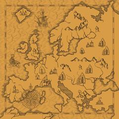 Old caravelle, vintage sailboat, sea monster. Detail of fantasy geographical maps