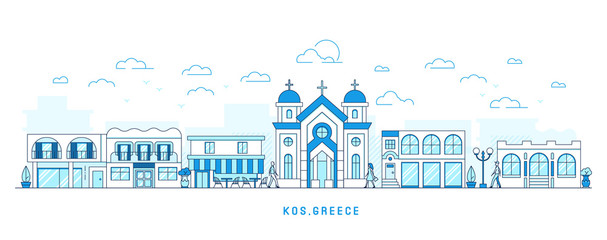 Line art style Kos Greece island, Kefalos cityscape, town street with houses and church, shops and cafe, trees and clouds, walking people, vector