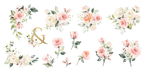 Set watercolor arrangements with roses. collection garden pink flowers, leaves, branches, Botanic  illustration isolated on white background.   ampersand