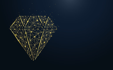 Luxury diamond icon from lines, triangles and particle style design. Illustration vector