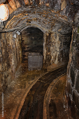 Old wooden mine chart in abandoned mine shaft