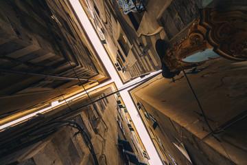 Narrow streets of Genoa city in Italy