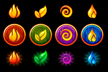 Four elements nature icons, wooden round Shield set. Wind, fire, water, earth symbol