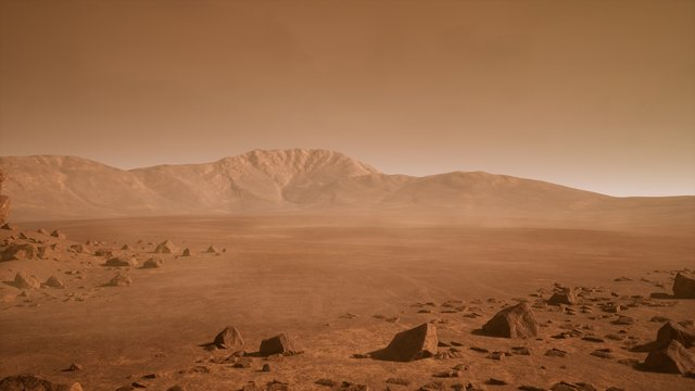 Panoramic landscape on the surface of Mars. 3D Rendering