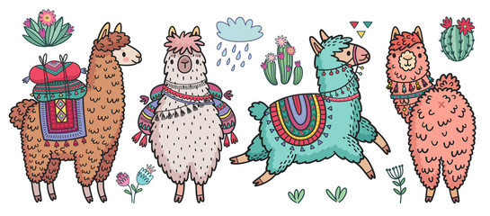 Wall Mural - Cute Lamas standing and running. Funny hand drawn characters with cacti.