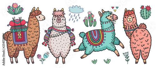Wall mural Cute Lamas standing and running. Funny hand drawn characters with cacti.