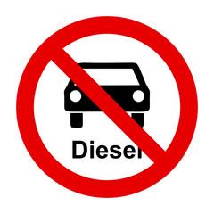 Diesel Auto und Verbotsschild