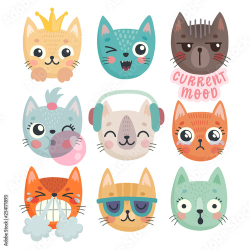 Wall mural Cute kittens. Characters with different emotions - joy, anger, happines and others.