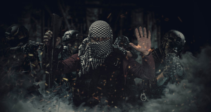 special forces police are capturing the insurgent