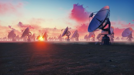 Large Array Radio Telescope. Time-lapse of a radio telescope in desert at sunset. 3D Rendering