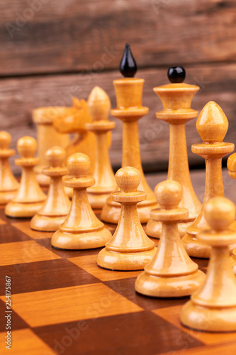 Wooden Chess Figures On Chess Board Wooden Cheese Pieces