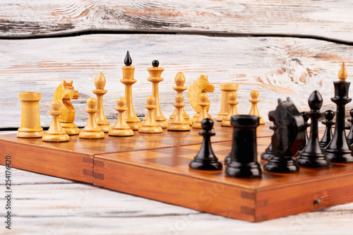 Set Of Black And White Chess Pieces Chess Board With Chess