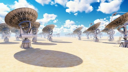 Large Array Radio Telescope. Time-lapse of a radio telescope in desert at sunny day. 3D Rendering Fotoväggar