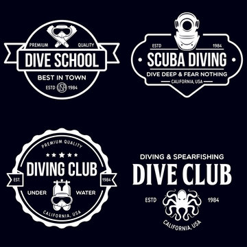 Set of Scuba diving club and diving school design. Concept for shirt or logo, print, stamp or tee. Vintage typography design with diving gear silhouette