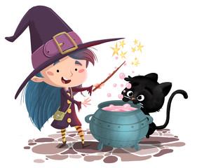 niña buja con gato y caldero