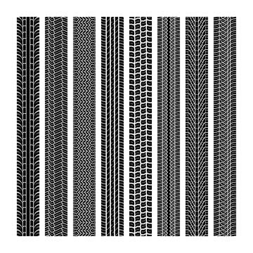 Tire tracks. Tread wheel vehicle thread speed highway motocross trace car road rubber black texture seamless print set