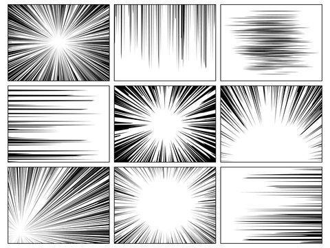 Radial comics lines. Comic book speed horizontal line cover speed texture action ray explosion hero drawing cartoon set