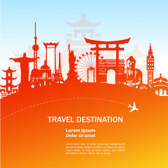 Fotomurales - Travel around The World vector illustration.