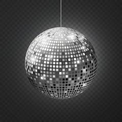 Mirror disco ball. Soffit reflection ball mirrored disco party silver glitter equipment retro rays shining mirrorball
