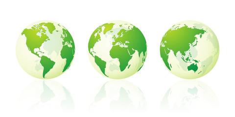 transparent world globe maps planet earth green set