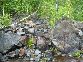 republic of karelia. Stones, boulders and dwarf birches